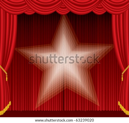 vector red stage with blurry spotlight star - stock vector