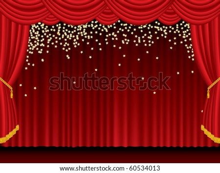 vector red stage with falling golden stars - stock vector