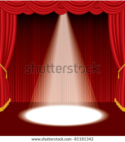 vector red stage with one white spot light - stock vector