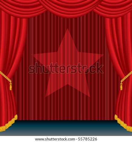 vector red stage with spotlight star - stock vector