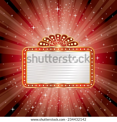 vector red star burst with blank billboard - stock vector