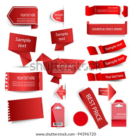 Vector red tag set isolated on white. - stock vector