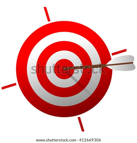 vector Red Target with arrow. 3d icon Color Target isolated on white background.