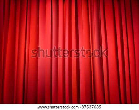 vector red theater curtain - stock vector
