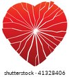 vector red torn broken heart as a sign of past pain after loss of love - stock photo