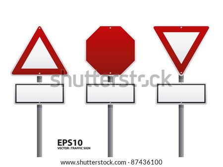 vector red traffic sign - stock vector