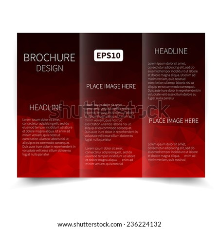 Modern corporate graphic design template black stock for Red brochure template