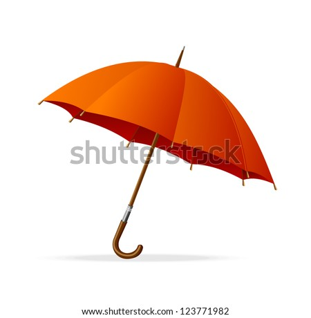 Vector red umbrella isolated - stock vector