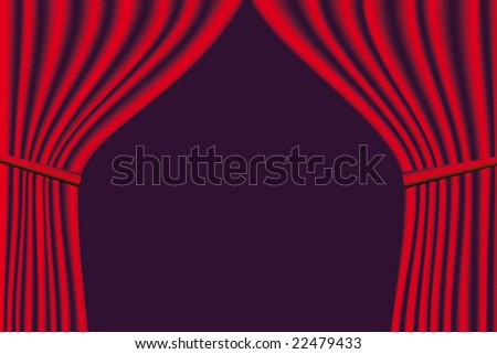Vector red velvet theater curtains