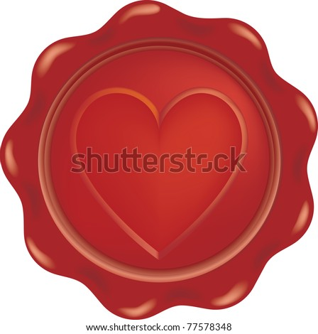 vector red wax with heart sign - stock vector