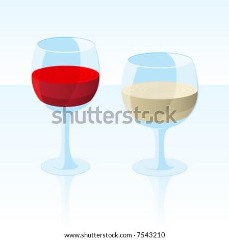 Vector Red & White Wine - stock vector