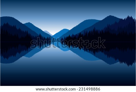 Vector reflection of mountains on lake at sunrise - stock vector