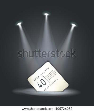 vector reflector light paper card - stock vector