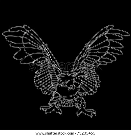Vector relief images of an eagle on a black background