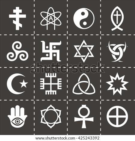 Vector Religious symbols icon set - stock vector