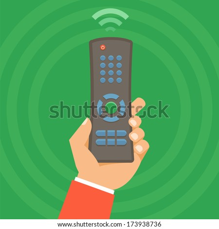 Vector remote control concept - icon in flat style - stock vector