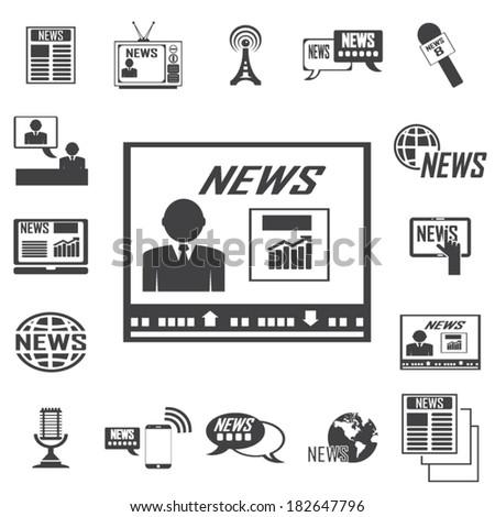 vector reporter icons set - stock vector