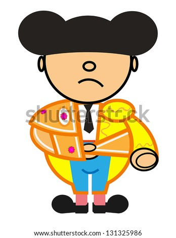 Vector representing Kiki dress of blue and gold matador walk - stock vector