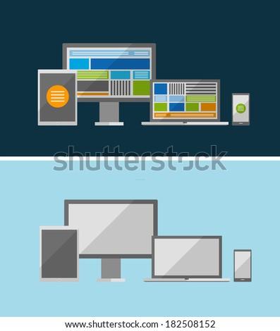 Vector responsive ui flat design concept. - stock vector