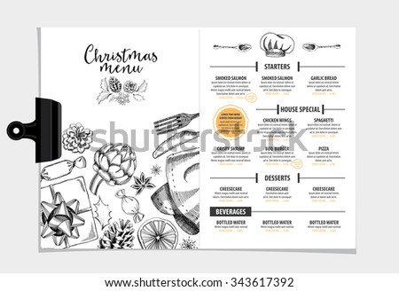 Vector restaurant brochure, menu design. Vector cafe template with hand-drawn graphic. Food flyer. - stock vector