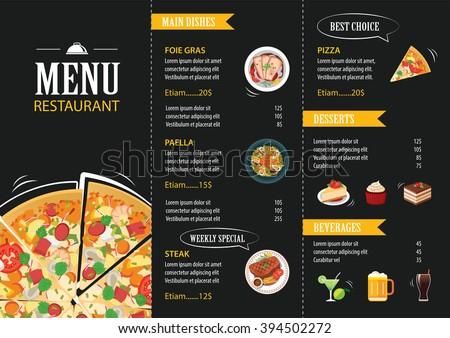 vector restaurant cafe menu template flat design - stock vector