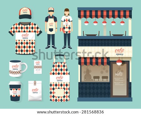 Vector restaurant cafe set shop front design, flyer, menu, package, t-shirt, cap, uniform and display design/ layout set of corporate identity mock up template. - stock vector
