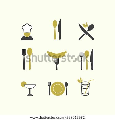 Vector restaurant food icon cuisine - stock vector