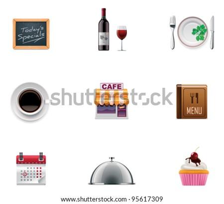 Vector restaurant icon set - stock vector