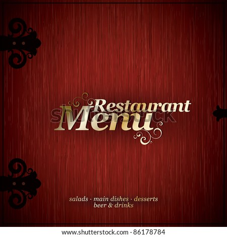 Vector. Restaurant menu design on a wooden texture - stock vector