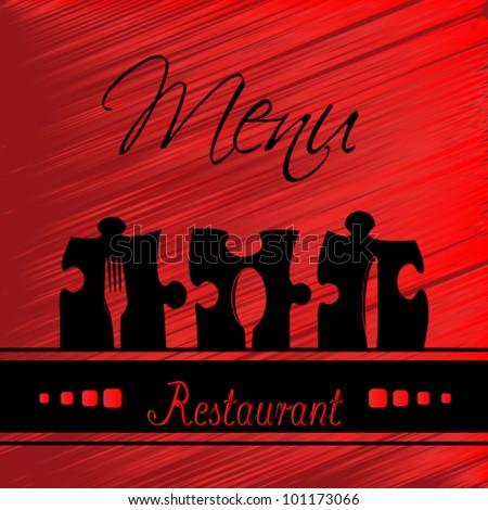 Vector restaurant menu design - red template brochure - stock vector