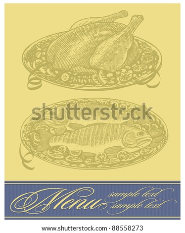 Vector restaurant menu design with roasted chicken and fish - stock vector