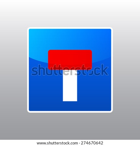 Vector restriction dead end road sign for your design  - stock vector