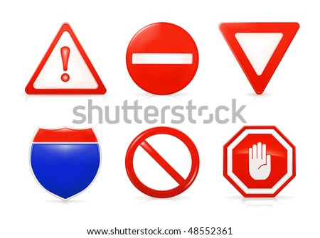 Vector Restrictive signs - stock vector