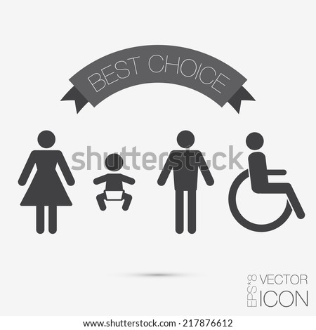 Vector restroom icons: lady, man, child and disability - stock vector