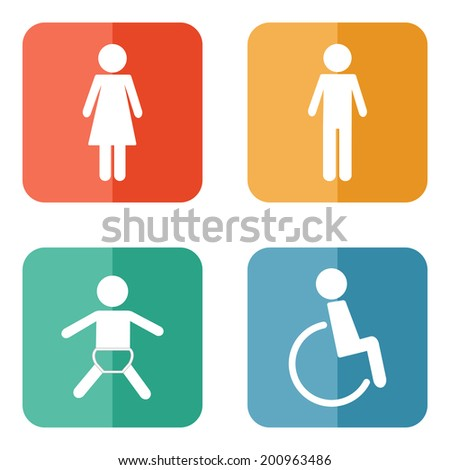 Vector restroom icons on bright buttons - lady, man, child, disability - stock vector