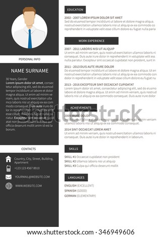 Vector resume cv minimalist template. Editable and ready to print layout, dark grey version.