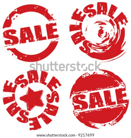 Vector retail grunge sale label symbols - stock vector