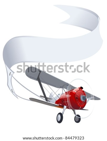 Vector retro airplane with banner - stock vector