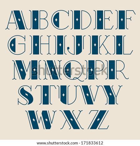 Vector Retro Alphabet Type Font Vintage Typography Poster