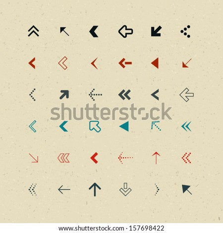 Vector Retro Arrows Set on Recycled Paper - stock vector