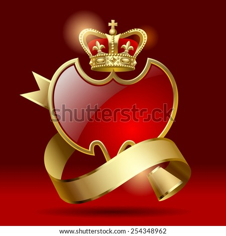 Vector retro artistic badge in the form of a shields with gold ribbon and crown against a dark red background - stock vector