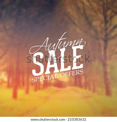 Vector Retro Autumn Sale banner typography. Fall Label in blurred autumn landscape background. - stock vector