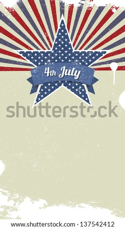 Vector retro background for Independence Day and other events - stock vector