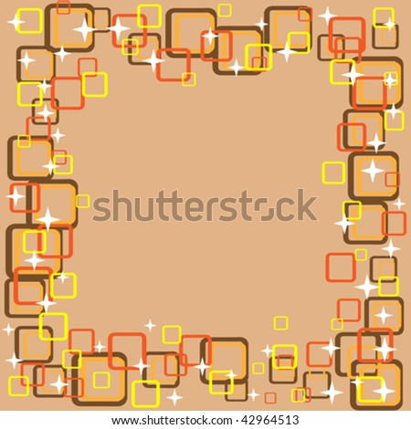 vector retro background frame in warm colors - stock vector