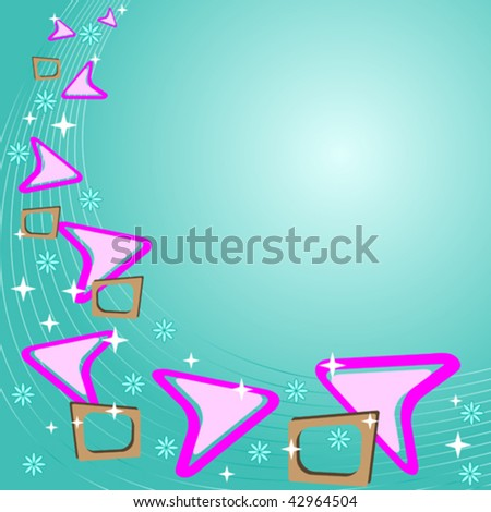 vector retro background in teal blue with pink and brown elements - stock vector