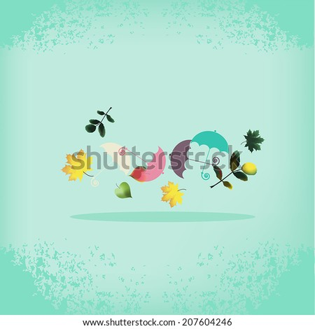 vector retro background with autumn leaves and umbrellas