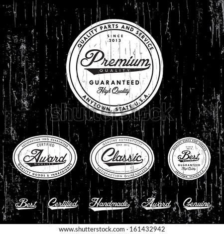 Vector retro badge and label set. Great for vintage packaging and labels. Easy to edit - stock vector