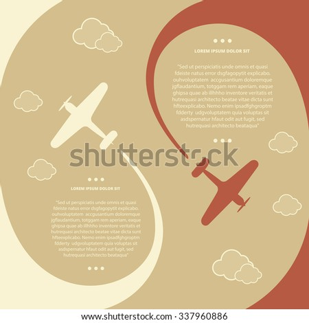 Vector retro biplanes, minimalistic style, whirlwind of airplane, for travel agencies, aviation companies. - stock vector