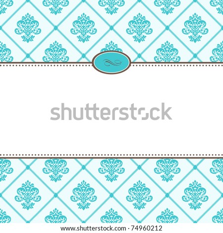 Vector Retro Blue Pattern and Frame. Easy to edit. Perfect for invitations or announcements. - stock vector