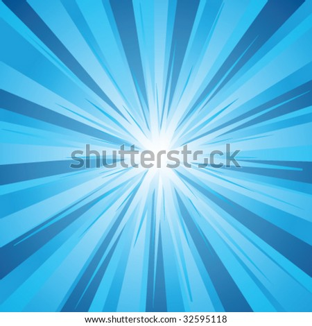 Vector retro blue sunburst - stock vector